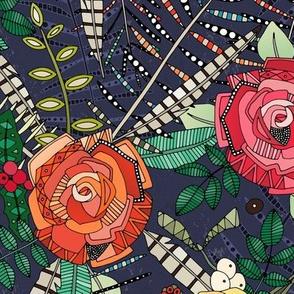 boho winter floral midnight small