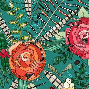 boho winter floral teal small