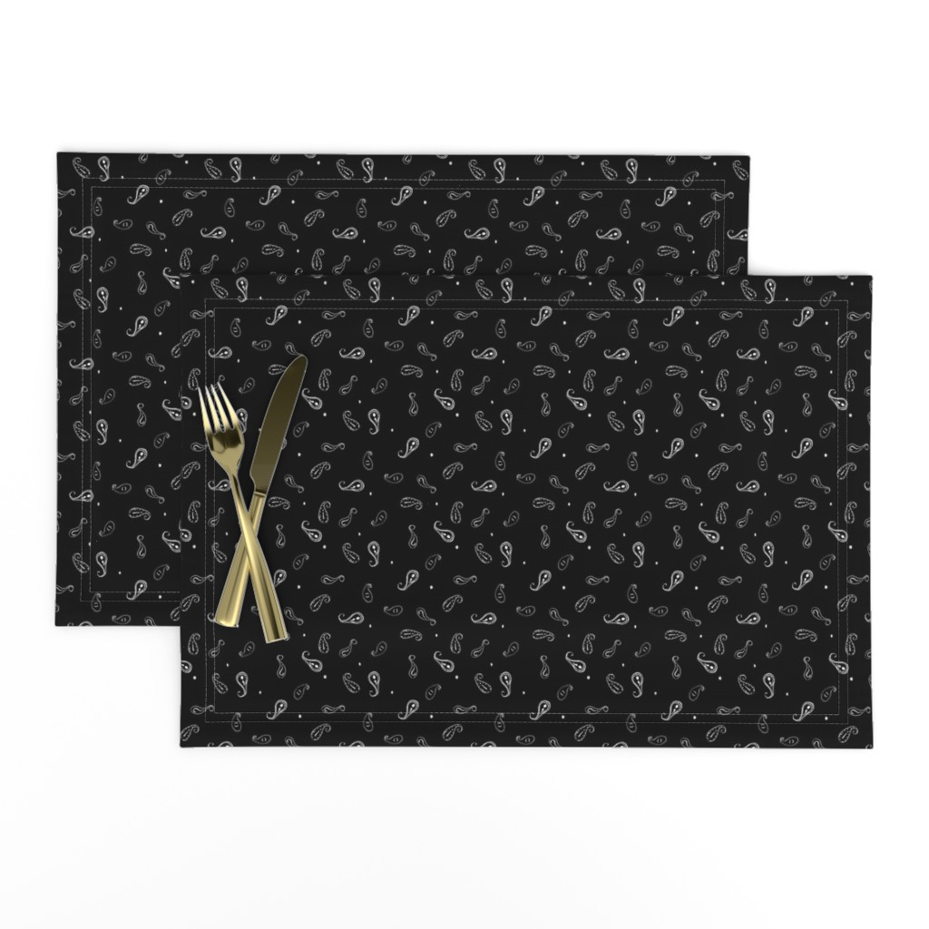 Lamona Cloth Placemats featuring Paisley, Punctuated | Black + White by lochnestfarm