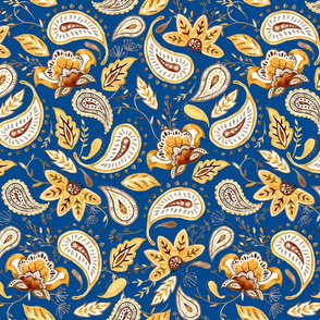 Lovely Paisley Florals Mustard-Blue