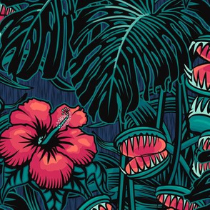 ★ TROPICAL NIGHT ★ Carnivorous Plant, Hibiscus & Monstera / Pink + Teal, Large Scale / Collection: It's a Jungle Out There – Savage Hawaiian Prints