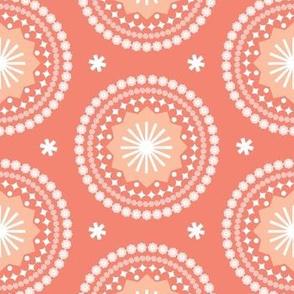Bandana* (Space Fruit) || scarf handkerchief stars starburst circles flowers fireworks geometric sun mandala sunshine living coral