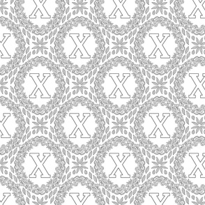 letter-X-black-white-wreath-SF-PATTERN-0819