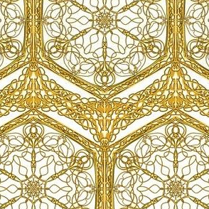 Cobweb Lace of Gold on White