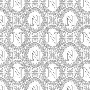 letter-N-black-white-wreath-SF-PATTERN-0819