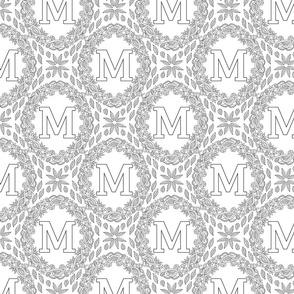 letter-M-black-white-wreath-SF-PATTERN-0819
