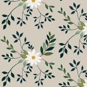 Winter Flora White Daisy + Greenery  {TINY}