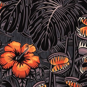 ★ TROPICAL NIGHT ★ Carnivorous Plant, Hibiscus & Monstera / Orange + Grayish Plum, Large Scale / Collection: It's a Jungle Out There – Savage Hawaiian Prints