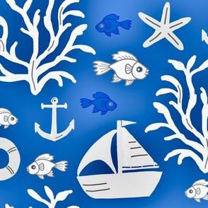 Boat and sea (dark blue) - Bateau et mer (bleu foncé)