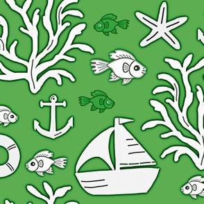 Boat and sea (green) - Bateau et mer (vert)