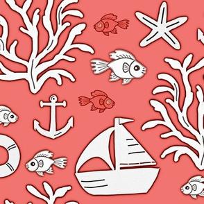 Boat and sea (coral orange) - Bateau et mer (orange corail)