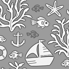 Boat and sea (grey) - Bateau et mer (gris)