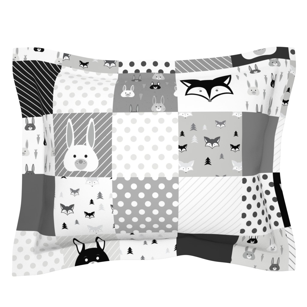 Sebright Pillow Sham featuring Foxes and Rabbits Cheater Quilt by denisecolgan