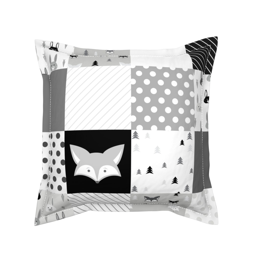 Serama Throw Pillow featuring Foxes and Rabbits Cheater Quilt by denisecolgan