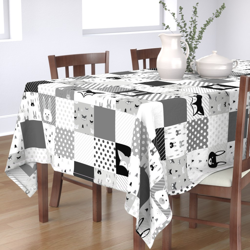 Bantam Rectangular Tablecloth featuring Foxes and Rabbits Cheater Quilt by denisecolgan