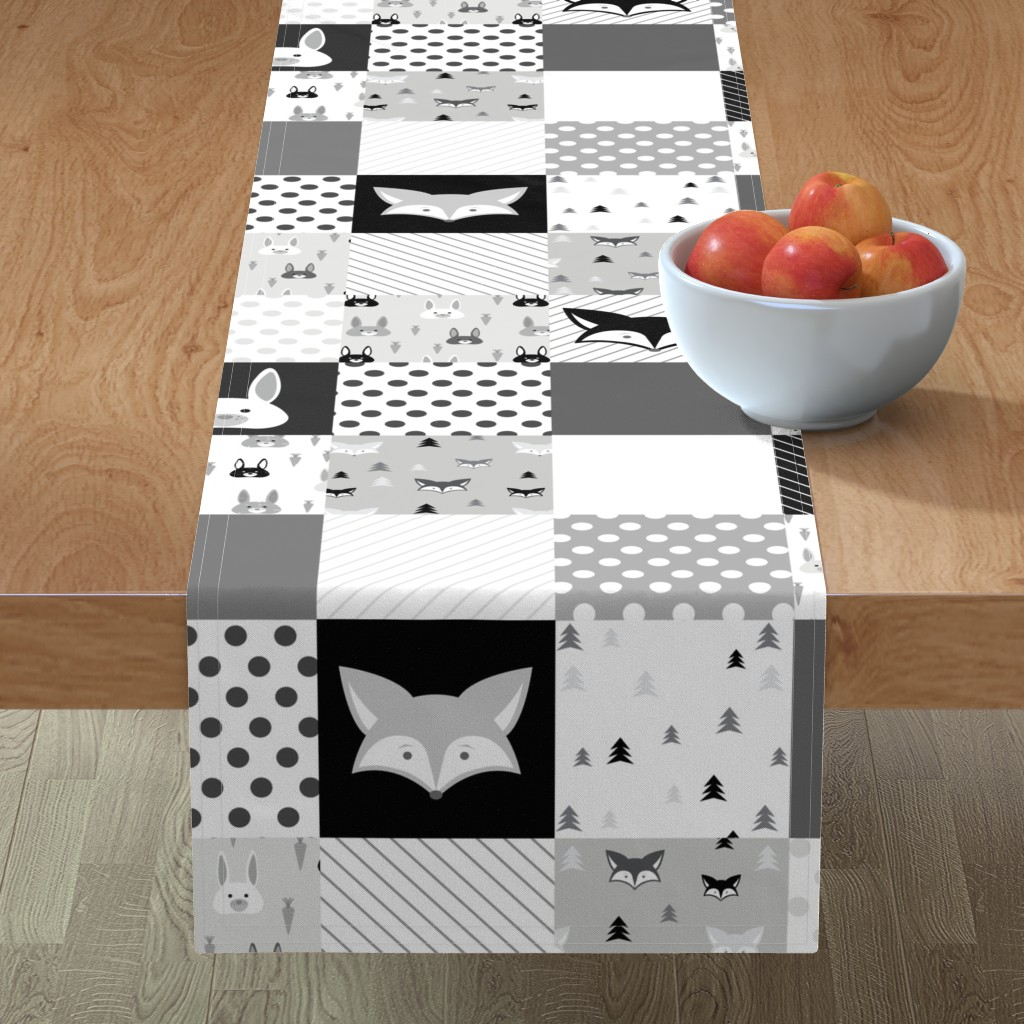 Minorca Table Runner featuring Foxes and Rabbits Cheater Quilt by denisecolgan