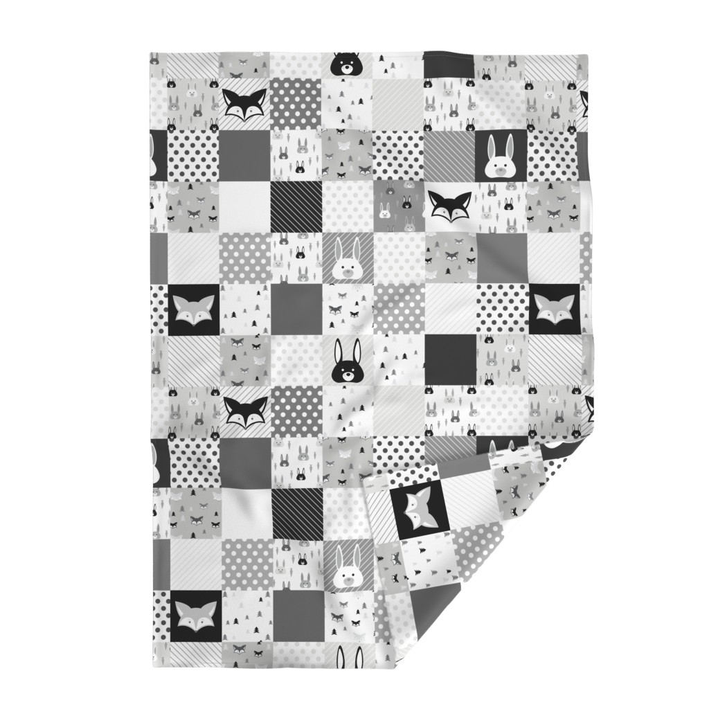 Lakenvelder Throw Blanket featuring Foxes and Rabbits Cheater Quilt by denisecolgan