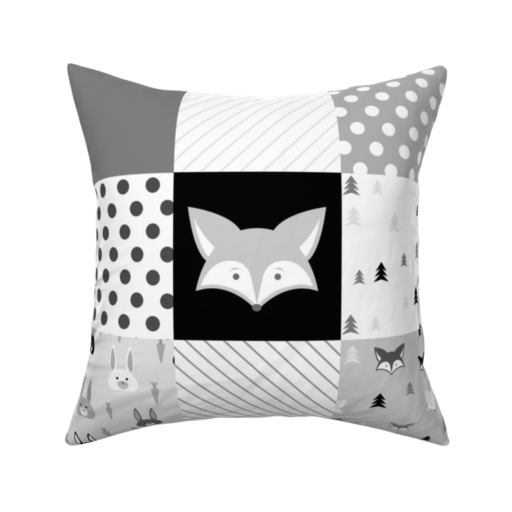 Catalan Throw Pillow featuring Foxes and Rabbits Cheater Quilt by denisecolgan