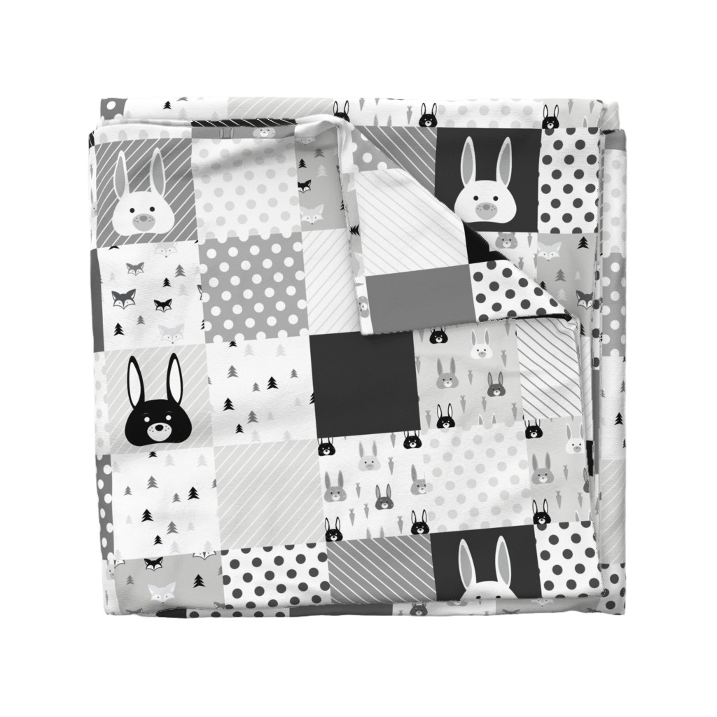 Wyandotte Duvet Cover featuring Foxes and Rabbits Cheater Quilt by denisecolgan