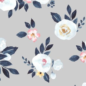 Amelia White Watercolor Floral in Gray