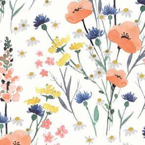 Wildflower Floral Bouquet - Rustic Watercolor