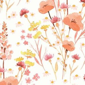 Wildflower Floral Bouquet - Antique Watercolor