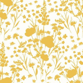 Mustard and Cream Wildflower Floral Silhouette - Small
