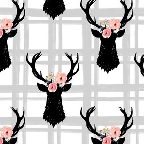 Gray and White Plaid Floral Deer Heads