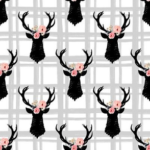 Gray and White Plaid Floral Deer Heads - Small