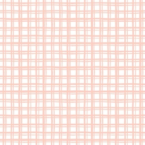 Rustic Hand Drawn Pink and White Plaid - Small