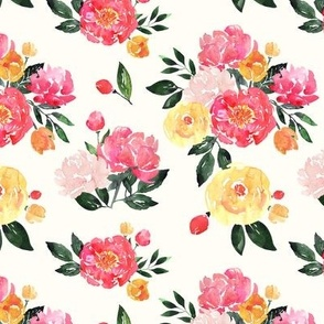 Pink Peony Watercolor Floral on Cream - Small