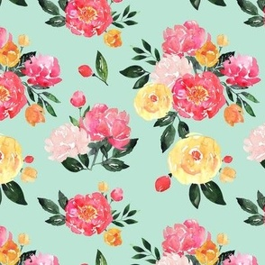 Bright Mint and Pink Peony Watercolor Floral - Small