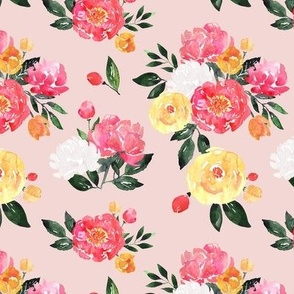 Bright Pink Peony Watercolor Floral - Small