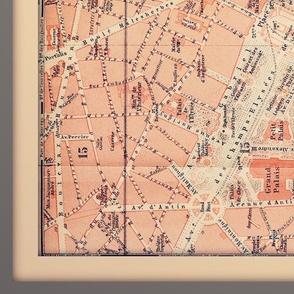 Paris map, antique, XL