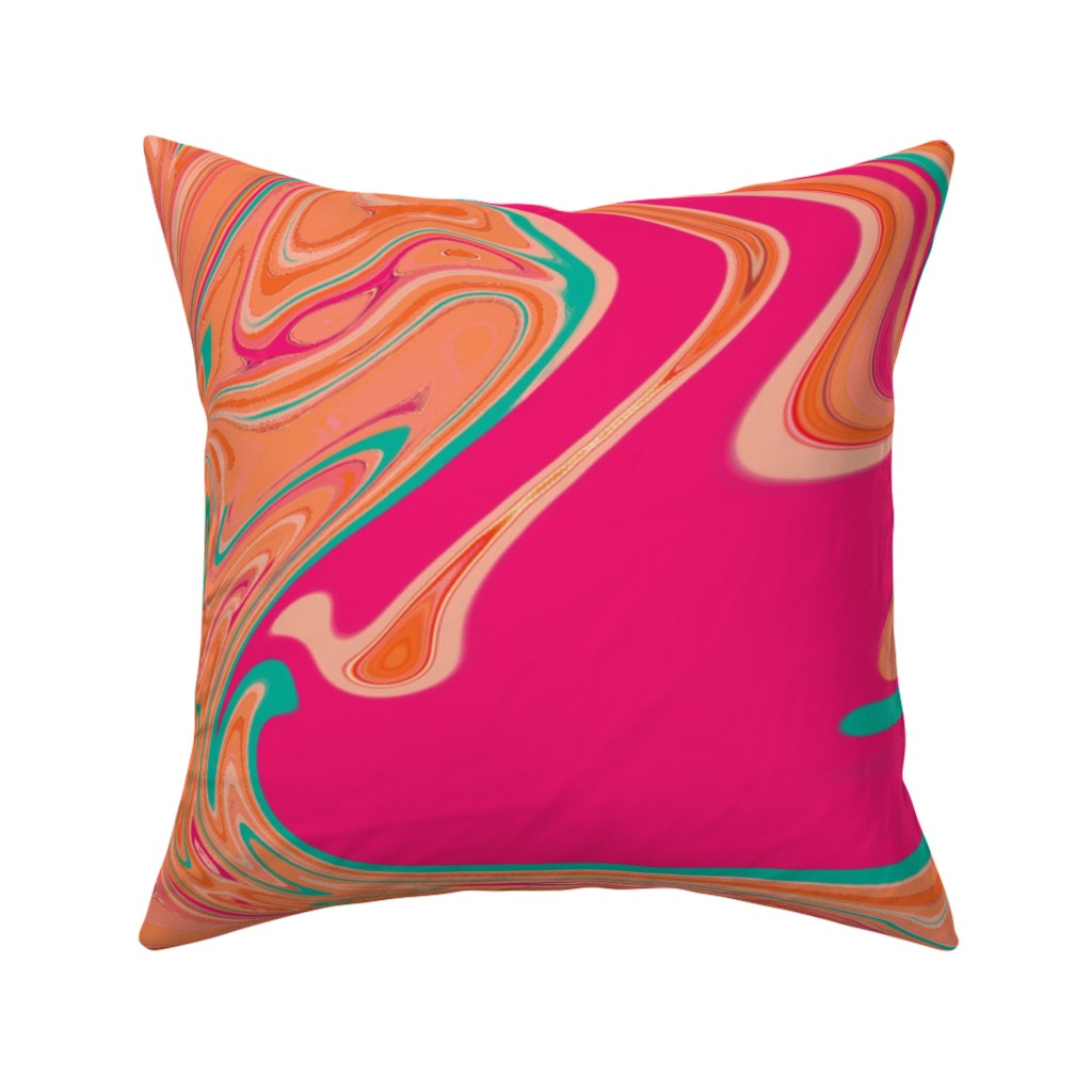 Catalan Throw Pillow featuring Pink Peach Aqua Swirl Sorbet by creative_spaces