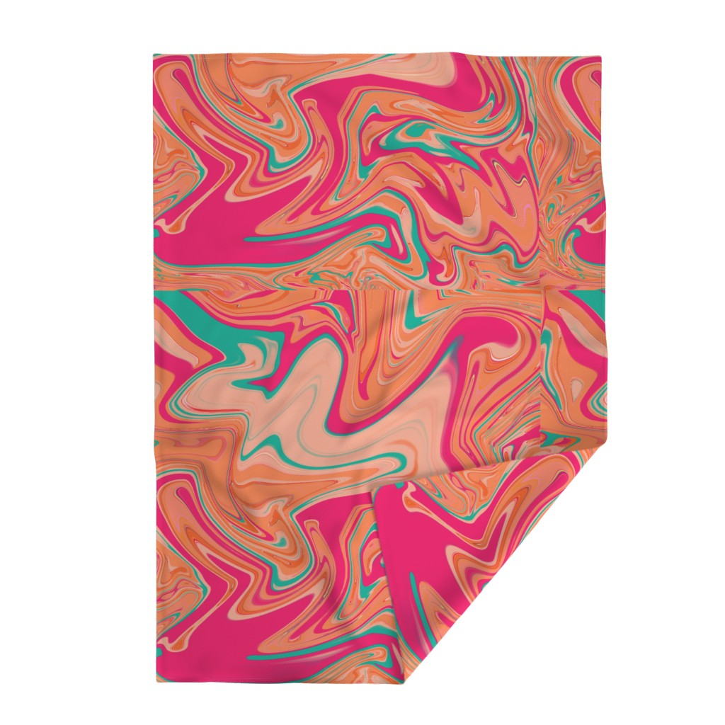 Lakenvelder Throw Blanket featuring Pink Peach Aqua Swirl Sorbet by creative_spaces