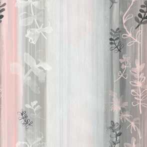 Dusty Rose Loose Watercolor Stripes and Leaves / Extra Large