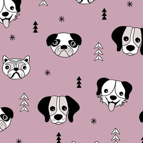 Little puppy love dog friends pugs beagle poodle and other dogs fall mauve lilac