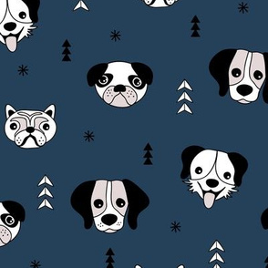 Little puppy love dog friends pugs beagle poodle and other dogs navy blue night