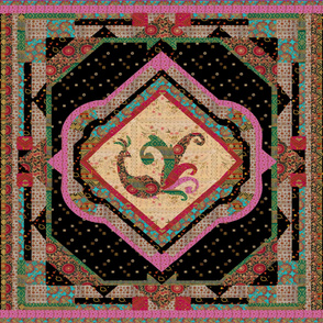 Pink Souzani Persian Style Cheater Quilt