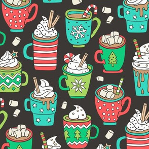 Hot Winter Christmas Drinks with Marshmallows on Black