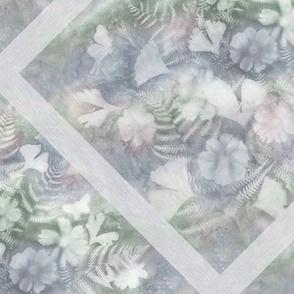 Dusty Gray Blue Green Ginkgo Fern Cosmos Sunprint Trellis