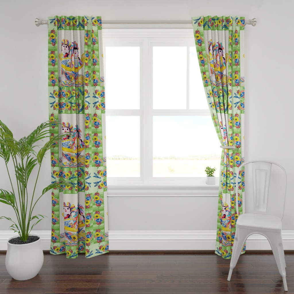 Plymouth Curtain Panel featuring Twins in a Talavera Bowl-Cheater Quilt by kandyceartstudio