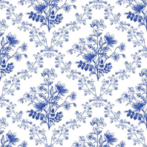 Vintage Floral Blue and White