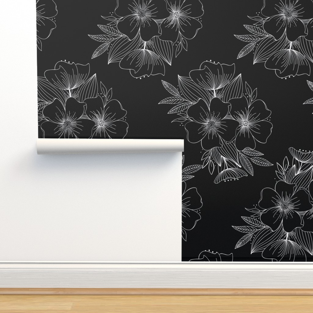 Isobar Durable Wallpaper featuring Large Floral Spray by kathryncole