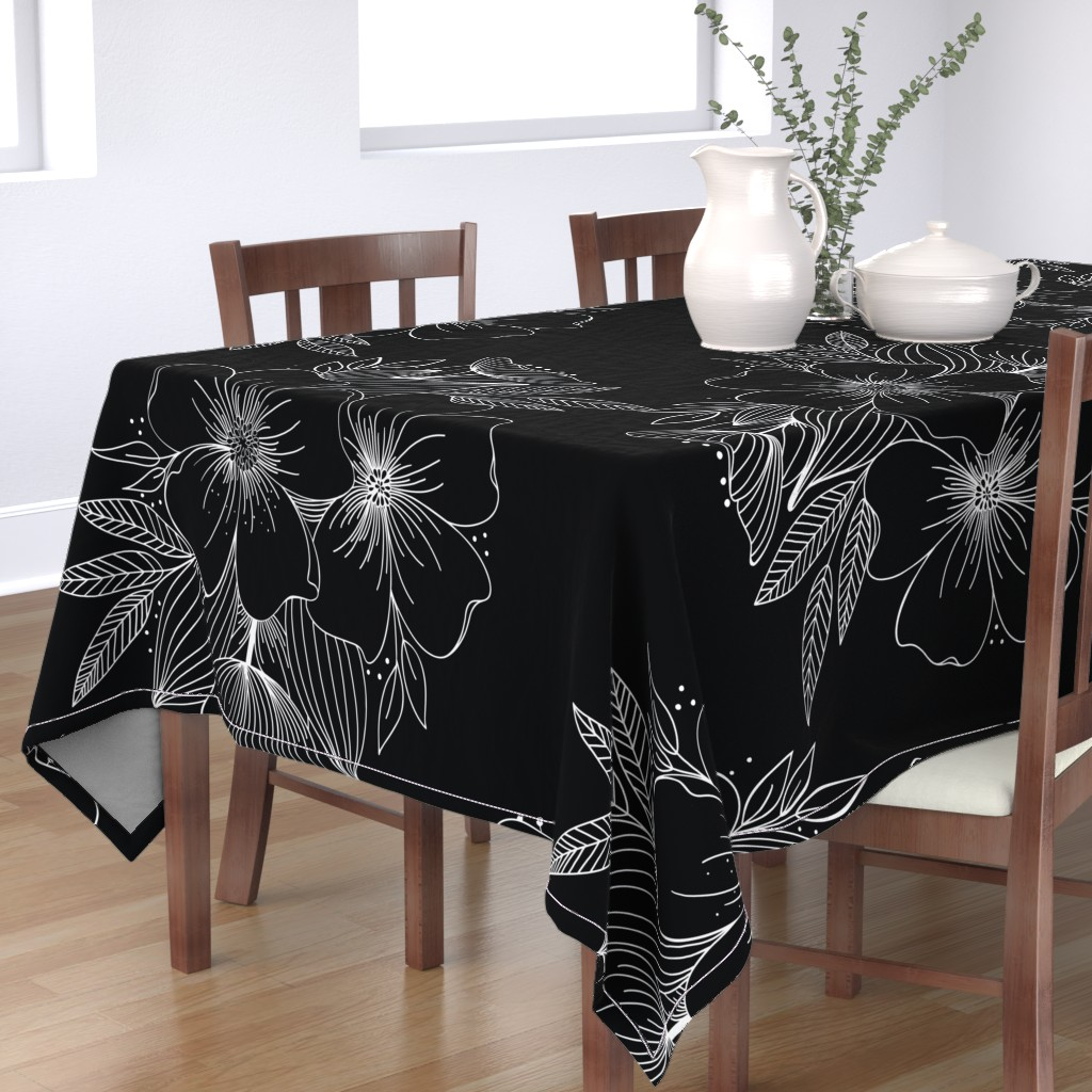 Bantam Rectangular Tablecloth featuring Large Floral Spray by kathryncole