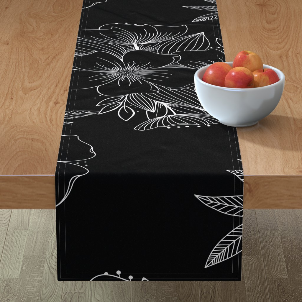 Minorca Table Runner featuring Large Floral Spray by kathryncole