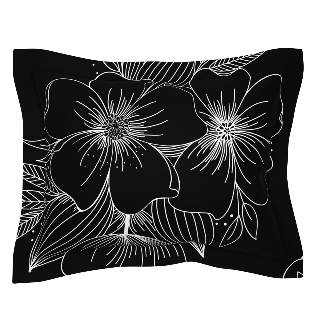 Sebright Pillow Sham featuring Large Floral Spray by kathryncole