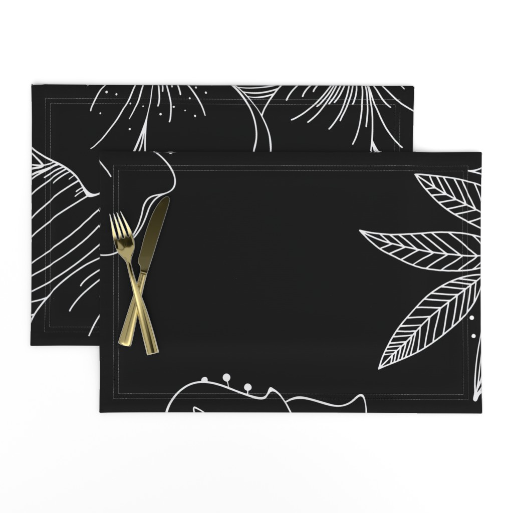 Lamona Cloth Placemats featuring Large Floral Spray by kathryncole