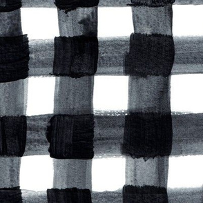 Painted Black and White Buffalo Check Plaid